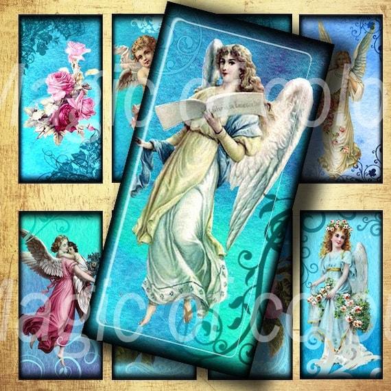 Digital Collage of  Vintage Angels Images - 20  1x2 Inch JPG images - Digital  Collage Sheet