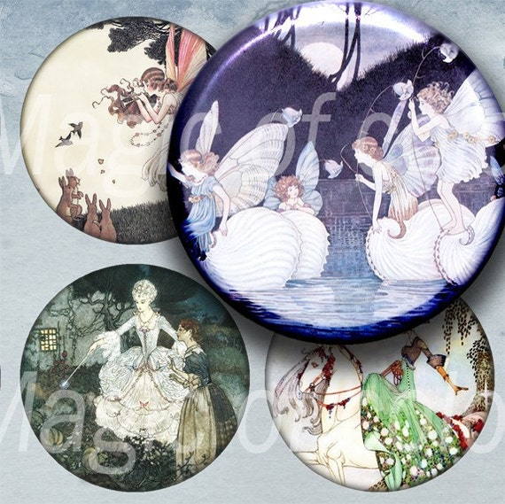Digital Collage of  Subtle Fairy Tale Illustrations - 20  2x2 Inch Circle  JPG images for Pocket Mirror - Digital  Collage Sheet