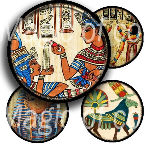 Egyptian Myths - 63  1 Inch Circle JPG images - Digital  Collage Sheet