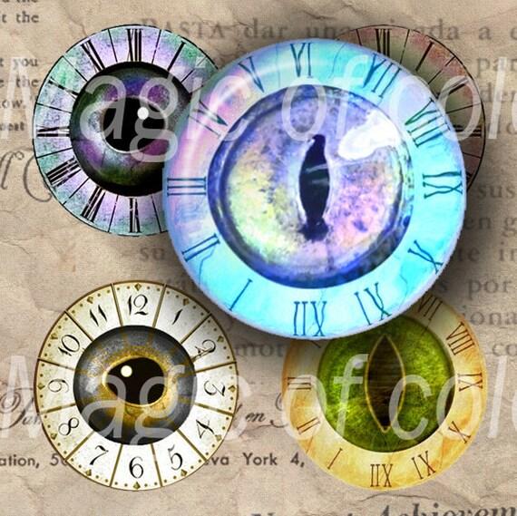 Steampunk Eyes - 63  1 Inch Circle JPG images - Digital  Collage Sheet