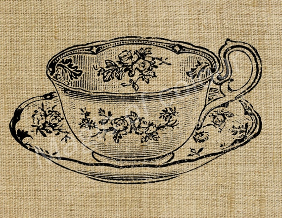 Teacup - Download Digital Image Sheet Transfer to Fabric - Tableware N3 - 8.5x11 Inch (A4) JPG images