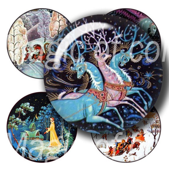 Russian Christmas - 63    1 Inch Circle  JPG images - Digital  Collage Sheet