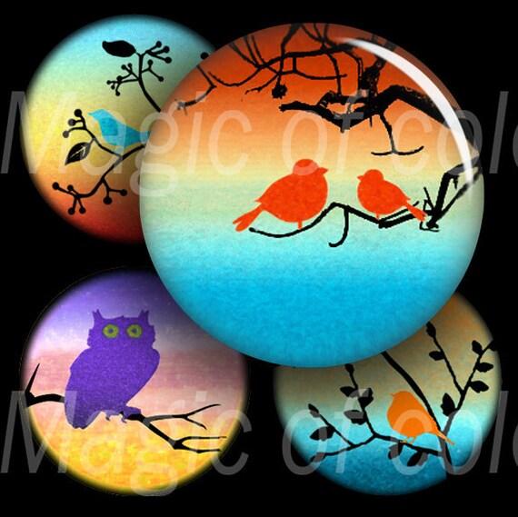 Watercolor Cute Birds - 63  1 Inch Circle JPG images - Digital  Collage Sheet
