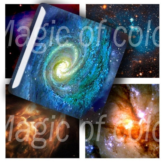 Space Photos - 80  1x1 Inch Square JPG images - Digital  Collage Sheet