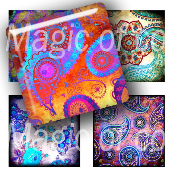 Paisley - 63  1x1 Inch Square JPG images - Digital  Collage Sheet
