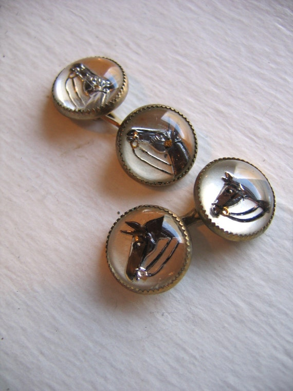 Antique Reverse Painting on Convex Glass Enamel Brown Horse Equestrian Riding Bridge Style  Cuff links with gold accents