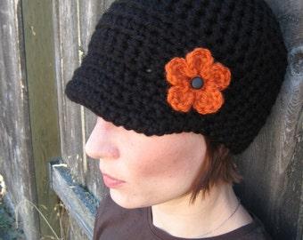 PATTERN Crochet Newsboy with Flower by Prairie Dog Arts - PDF