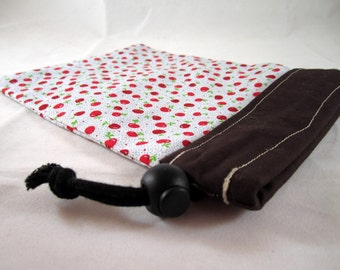 Project Bag, Apples, Brown and White, Reversible, Small