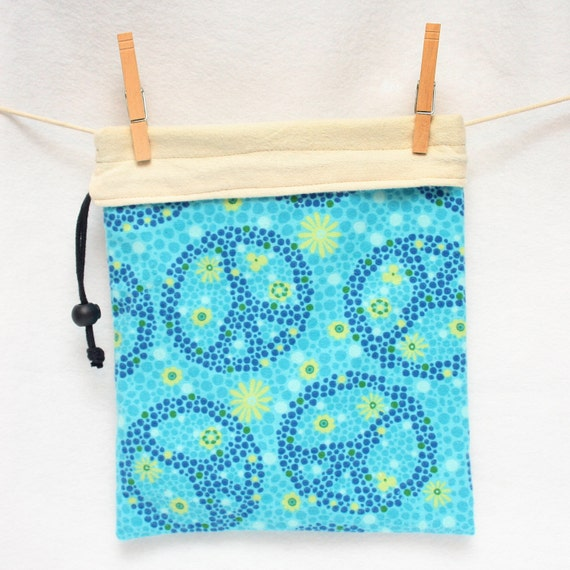 Knitting Project Bag, Peace Sign, Blue, Reversible, FREE US Shipping, Large