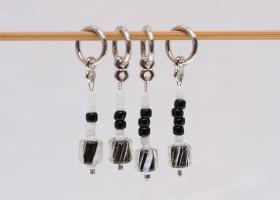 Stitch Markers, Black and White, Counting, FREE US Shipping