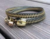 Zipper Bracelet -  Black w/ Gold