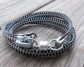 Zipper Bracelet - Black w/ Silver