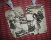 Vintage inspired Christmas children tags, set of 6, with Silver German Glasss Glitter