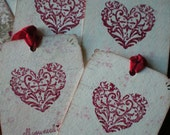 Set of 4 Heart / All you need is Love  tags.