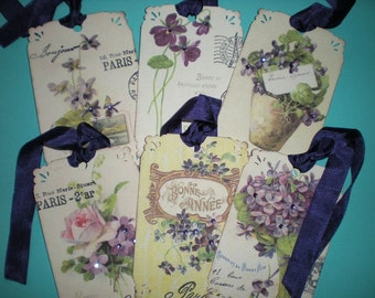 Vintage Violets tags with rhinestones set of 6  /  041