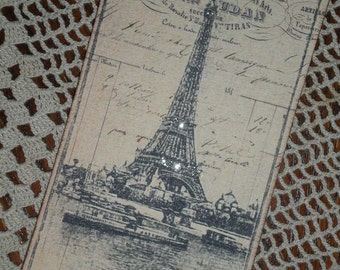 4 Eiffel Tower tags with German Glass Glitter / Oversized  / 017