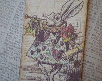 New,  6  Alice in Wonderland tags with German glass glitter / Vintage style
