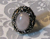 antique silver chunky ring  with Rose Quartz cabachon