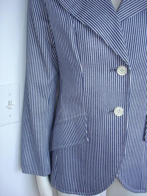 SALE White Stripes Suit Medium