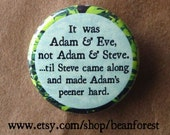 it was adam and eve until, not adam and steve. until steve came along and made adam's peener hard - pinback button badge