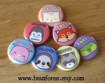 7 adorable sins - seven deadly sins kawaii buttons cute magnets pinback badge cute animal art 7 deadly sins