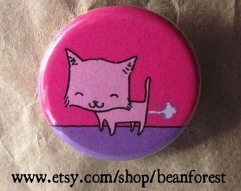 kitty farts - pinback button badge