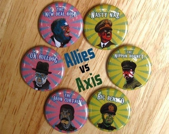 2nd World War Luchador set - franklin roosevelt - winston churchill - wrestling - wrestler - pinback button badge