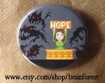"8 bit pandora's box - greek myth pixel art hope pin greek gods 1.25"" pinback button magnet fantasy greek mythology badge hope chest monster"