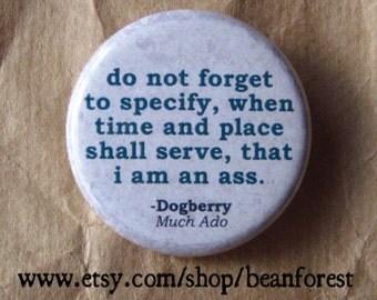 i am an ass (Shakespeare) - pinback button badge