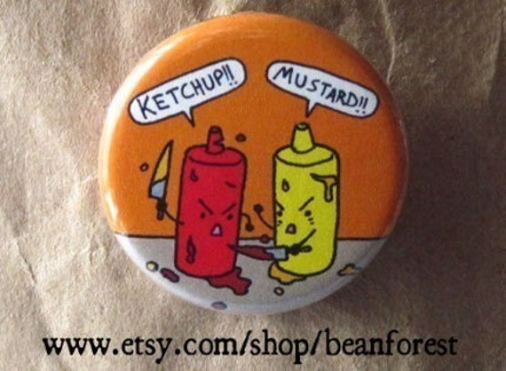 ketchup v mustard - ketchup and mustard bottle fight button magnet