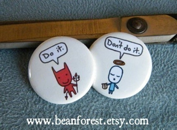 devil and angel, do it, don't do it - cute chibi kawaii - pinback button badge