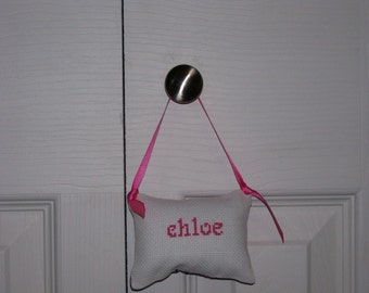 Chloe Counted Cross Stitch Hanging Pillow