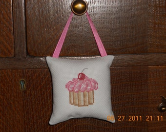 Counted Cross Stitch Cupcake Hanging Pillow