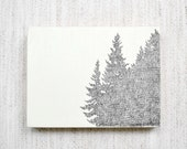 Original Hand Sketched Tree Line Drawing - 3x4 Nature Artwork on Wood Panel - MeghannRader