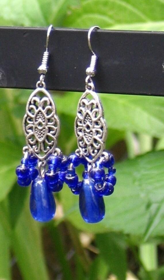 SALE   ---  Intriguing-intelligent royal blue earrings