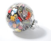 50 percent off - small glass ornaments- made from recycled magazines, red, blue, green, white, neutral, yellow, multi-colored