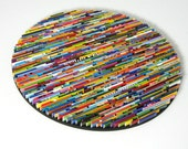 Bright and colorful round wall art- made from recycled magazines, colorful, unique 12 inch circle