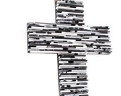 black and white cross-  made from recycled magazines, Christmas gift, black, white, grey, religous, cross, Baptism