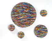 set of 5 brightly colored round wall art- made from recycled magazines, colorful, unique
