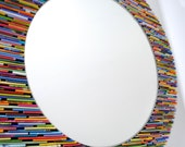 SALE colorful 18 inch diameter bright round mirror, wall art- made from recycled magazines, blue, green, red, purple, pink, yellow, orange