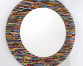 colorful 18 inch diameter bright round mirror, wall art- made from recycled magazines, blue, green, red, purple, pink, yellow, orange