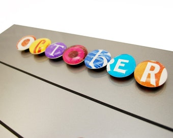 LARGE magnet or push pin LETTER set- made from recycled magazines, 2017 perpetual calendar, back to school, alphabet, calendar, colorful