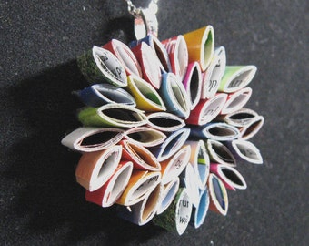 pendant necklace- made from recycled magazines, flower, unique, gift