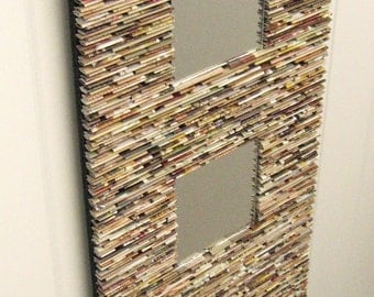 neutral mirror, wall art- made from recycled magazines, neutral, tans, brown, country, entry wal mirror, unique, gift