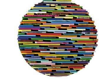 round wall art- made from recycled magazines, colorful, unique 6 inch circle
