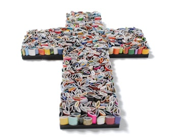 colorful cross, unique -  made from recycled magazines, colorful, Baptism, religious, cross, color
