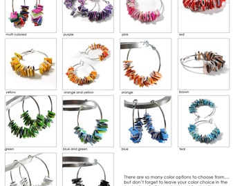 you pick your color - large hoop earrings - made from recycled magazines, red, pink, green, blue, teal, purple, orange, yellow, black, white