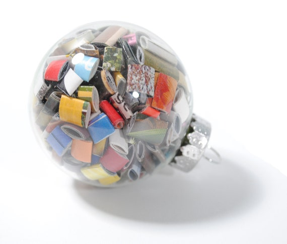 Small glass ornaments- made from recycled magazines, red, blue, green, white, neutral, yellow, multi-colored