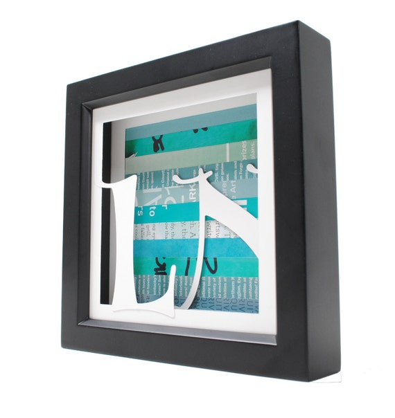 personalized monogram art- shadowbox made from recycled magazines, for weddings, first anniversary and graduation gifts