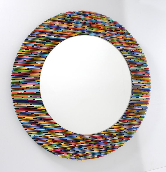 Colorful 18 inch diameter bright round mirror wall art made for Miroir mosaique design